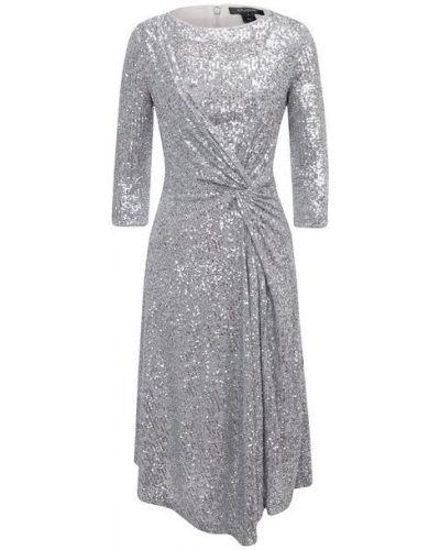 Серебряное платье с пайетками с подкладкой St. John