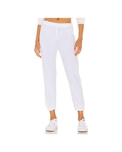 С кулиской белые брюки на резинке из футера эластичные Michael Lauren