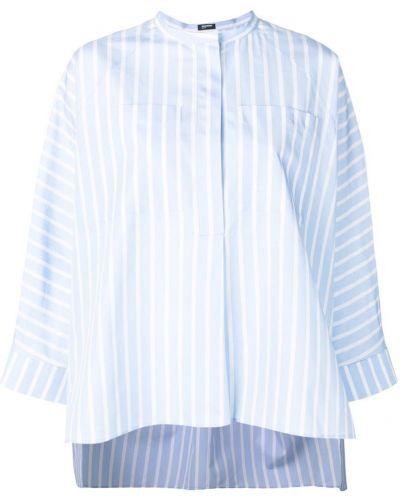 Рубашка в полоску без воротника Jil Sander Navy
