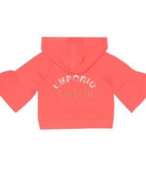Światło bawełna różowy bluza z kapturem z haftem Emporio Armani Kids