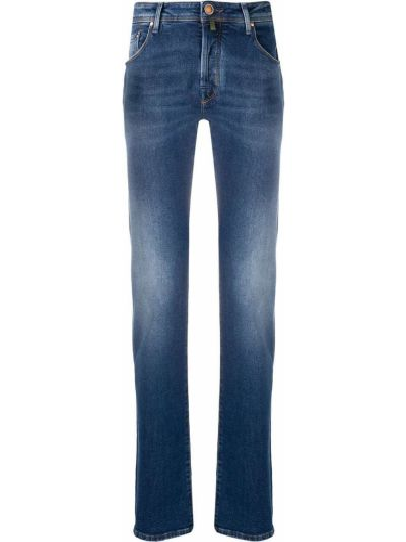 Хлопковые синие прямые джинсы-скинни Jacob Cohen