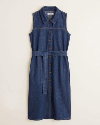 Платье миди джинсовое с поясом Mango
