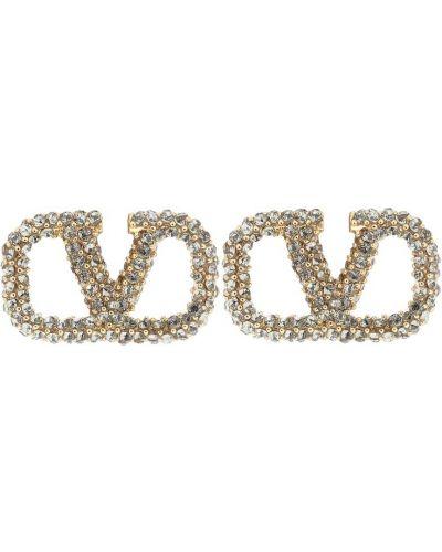 Пуховые серьги-гвоздики золотые Valentino Garavani