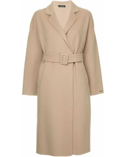 Однобортное длинное пальто с капюшоном Loveless