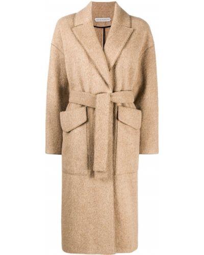 С рукавами длинное пальто с поясом с воротником из альпаки Inès & Maréchal