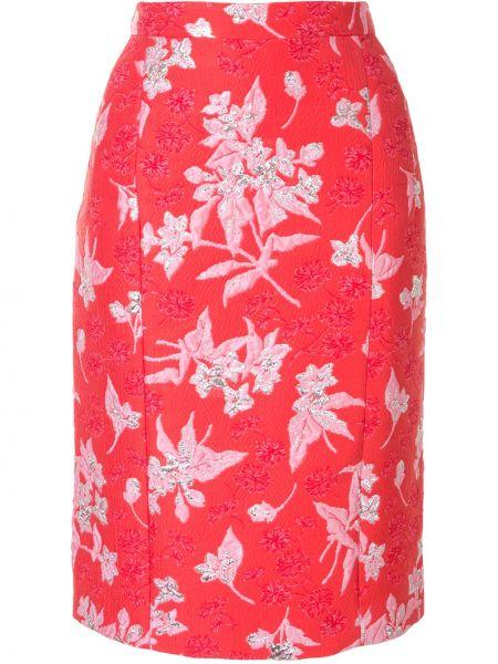 Красная шелковая с завышенной талией юбка миди на молнии Delpozo