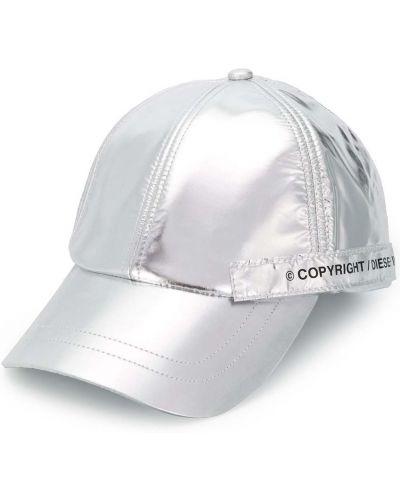 Серебряная хлопковая кепка с вышивкой Diesel