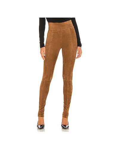 Коричневые кожаные брюки на резинке на молнии Veronica Beard