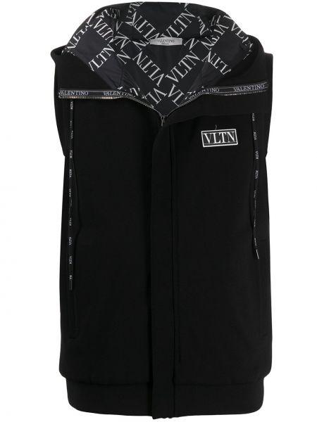 Черная жилетка с капюшоном без рукавов Valentino