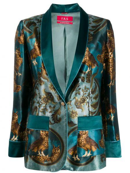 Синий удлиненный пиджак с карманами с воротником F.r.s For Restless Sleepers