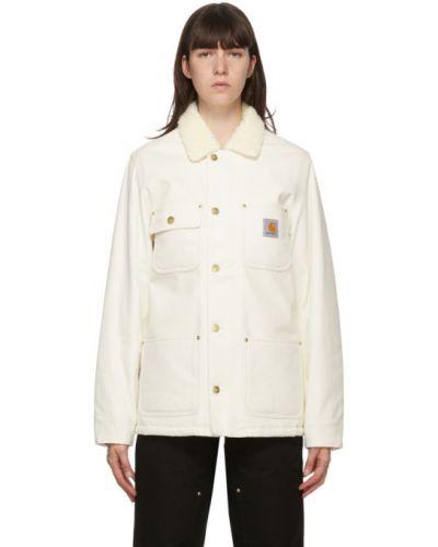 Bawełna bawełna biały długa kurtka z mankietami Carhartt Work In Progress