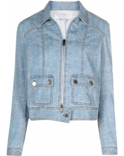 Синяя джинсовая куртка на молнии с воротником Giambattista Valli