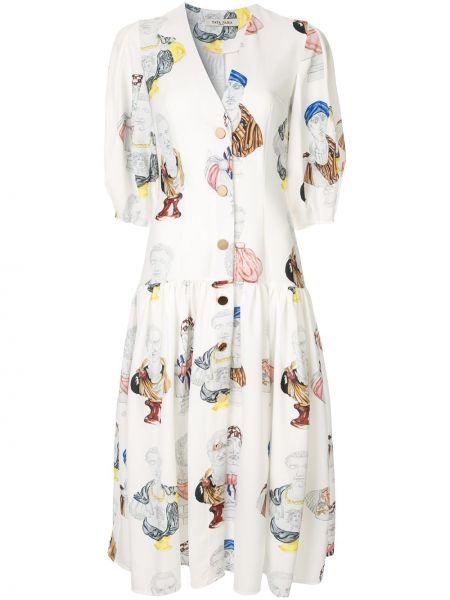 Хлопковое белое расклешенное платье миди на пуговицах Tata Naka