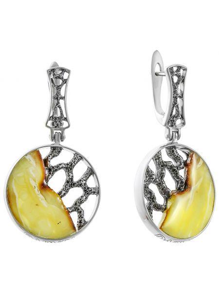 Желтые серебряные серьги с декоративной отделкой Darvin