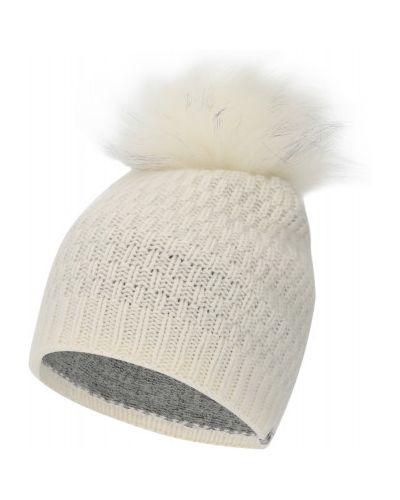 Белая вязаная шапка с помпоном Descente
