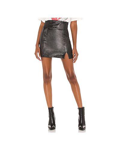 Черная юбка мини с разрезом на молнии Free People