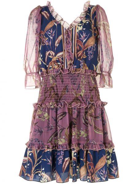 Шелковое платье мини - фиолетовое Marchesa Notte