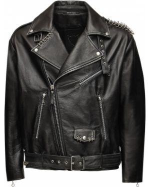 Czarna kurtka skórzana z paskiem Htc Los Angeles