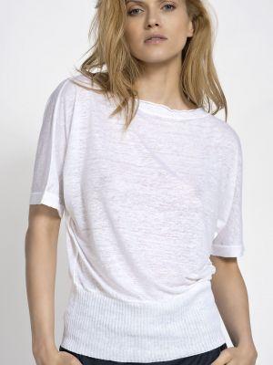 Biały lniany sweter Deni Cler Milano