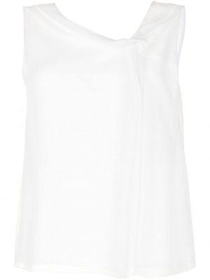 Biała bluzka bez rękawów asymetryczna Emporio Armani