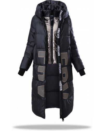 Стеганое пальто - черное Freever