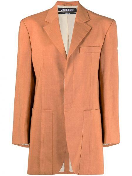 Красный удлиненный пиджак для полных с карманами Jacquemus