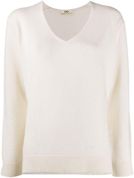 Белый кашемировый тонкий свитер с V-образным вырезом Sminfinity