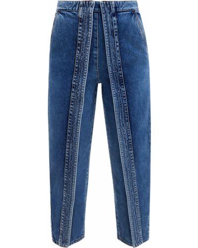 Синие зауженные укороченные джинсы с сеткой на кнопках Stella Mccartney