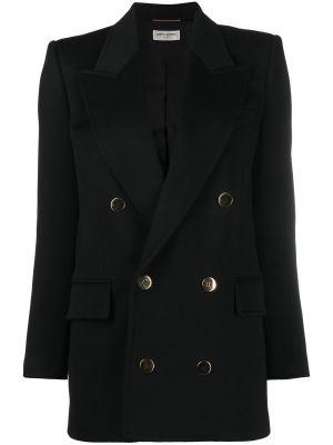 Черный удлиненный пиджак двубортный с карманами Saint Laurent