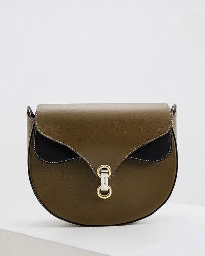 Зеленая сумка через плечо из натуральной кожи Lancel