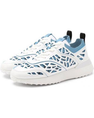 Кожаные кроссовки голубой с подкладкой Tods