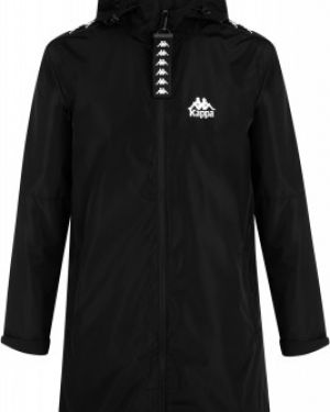 Спортивная прямая черная куртка с капюшоном на молнии Kappa