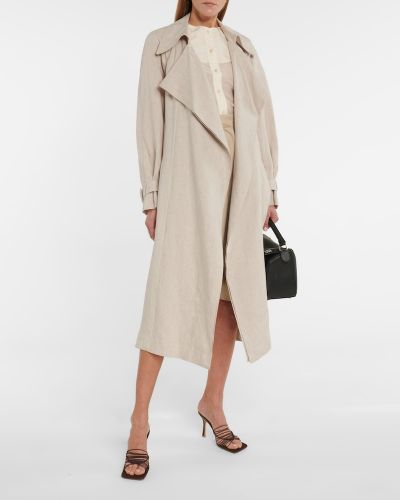 Льняное бежевое пальто классическое Low Classic