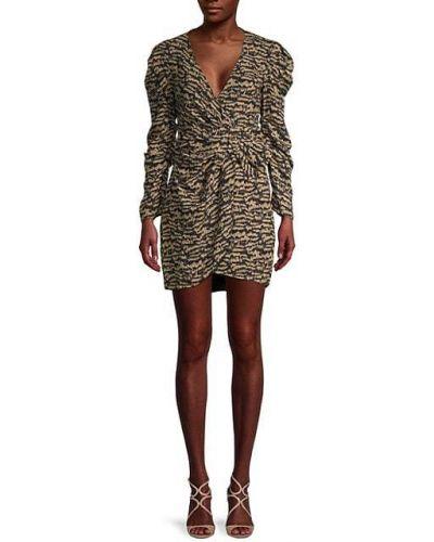 Платье мини винтажное с декольте с драпировкой Bardot