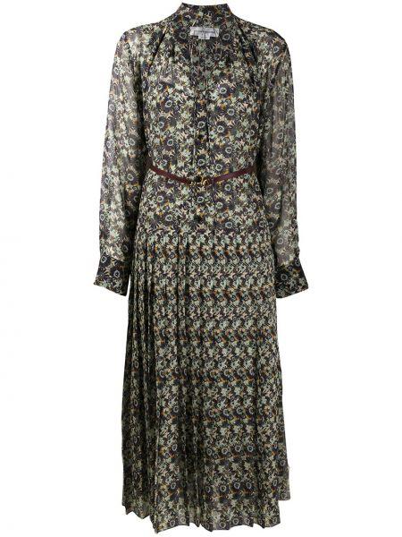 Кожаное платье со складками с V-образным вырезом на пуговицах Victoria Beckham