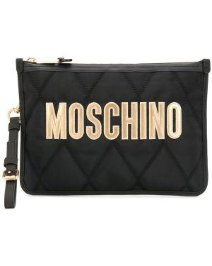 Torba sprzęgło czarny z haftem Moschino