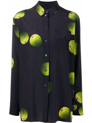 Шелковая синяя рубашка на пуговицах Paul Smith