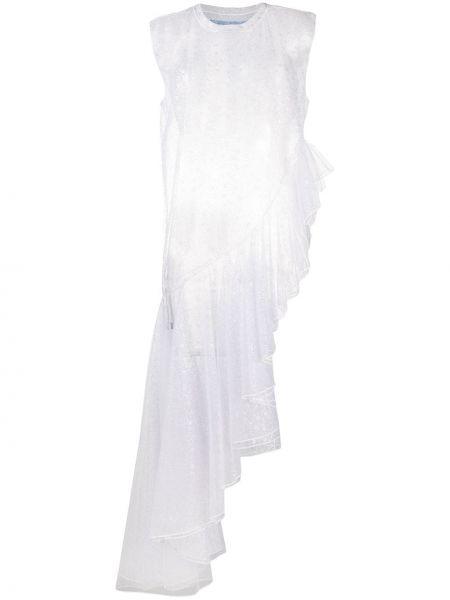 Асимметричное платье с вышивкой без рукавов с люрексом Viktor & Rolf