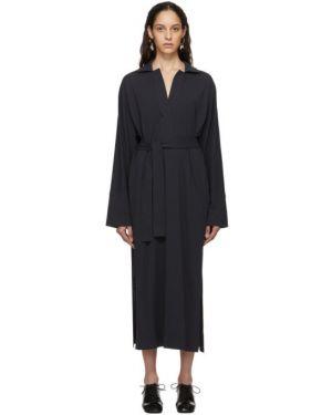 Платье макси серое с поясом Lemaire