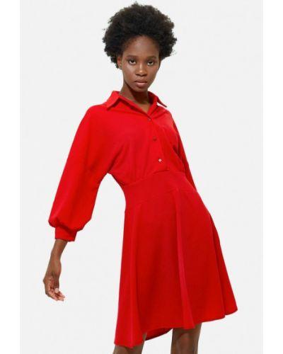 Платье рубашка - красное Gepur