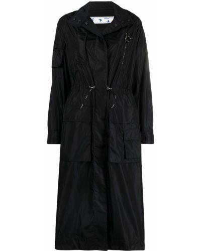 Klasyczny czarny płaszcz przeciwdeszczowy z długimi rękawami Off-white