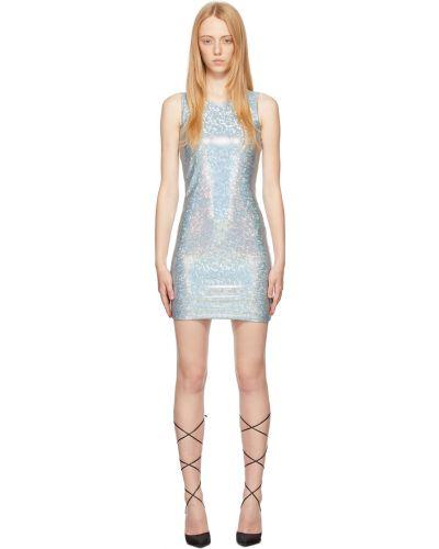 Niebieska sukienka mini srebrna z siateczką Saks Potts