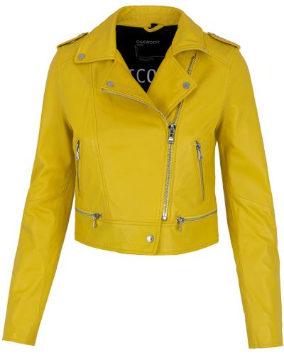 Żółta kurtka skórzana Oakwood