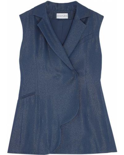 Приталенная синяя жилетка с подкладкой Chapurin