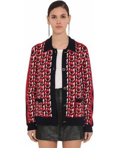 Шерстяная вязаная куртка с воротником Miu Miu