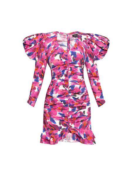 Różowa sukienka midi krótki rękaw Isabel Marant