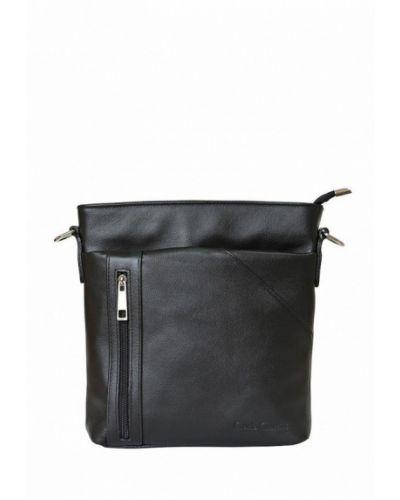 Черная кожаная сумка через плечо Carlo Gattini