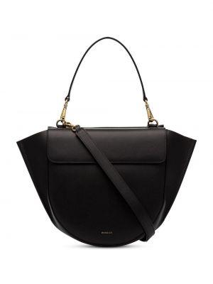 Кожаная золотистая черная кожаная сумка на молнии Wandler