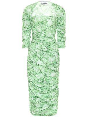 Платье миди с цветочным принтом из поплина Ganni