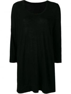 Черный шерстяной вязаный длинный свитер Sottomettimi